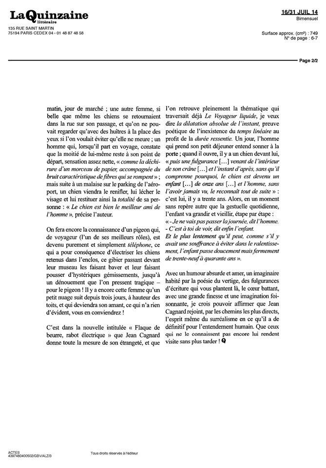 Trainance - Quinzaine Littéraire : critique de