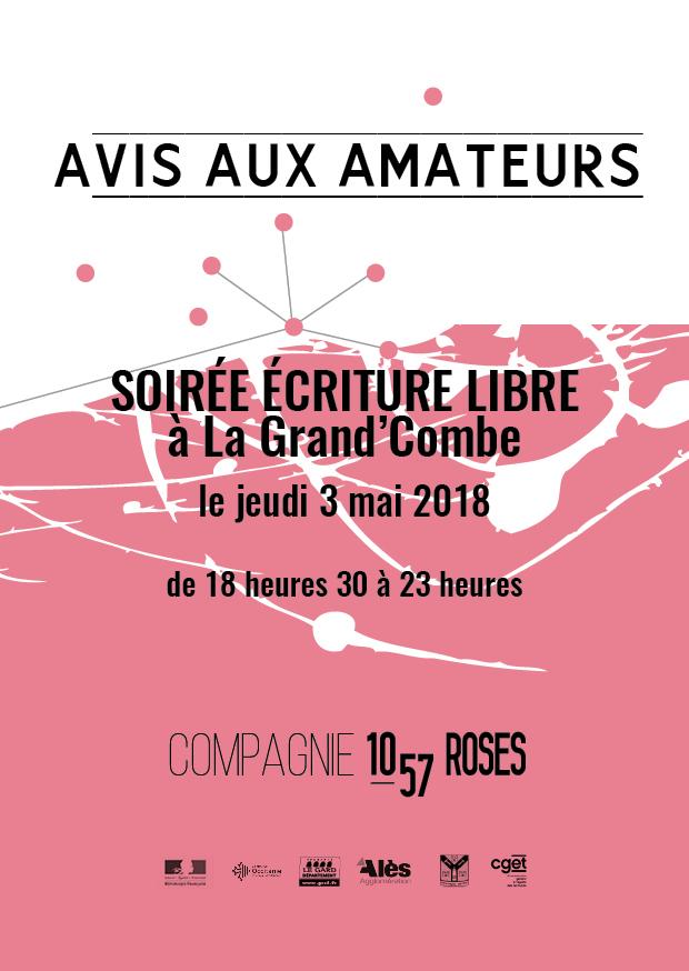 Trainance - LE 3 MAI 2018 : SOIRÉE ÉCRITURE LIBRE À LA GRAND'COMBE